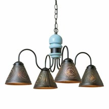 Beachy new 4-Arm Wood Chandelier with Tin Shades in Misty Blue  - $339.95