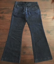 Express Design Studio Flare Low Rise Stretch Flat Front Jeans Size 2S Dark Wash - $14.03