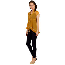 Ira Soleil yellow block printed poly chiffon cap sleeve womens top - $49.99