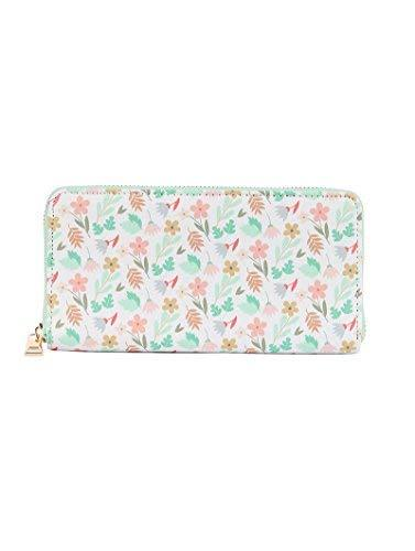 Floral Print Zip Around Wallet Clutch Purse Flowers & Leaves