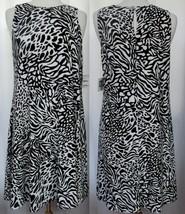 ANNE KLEIN Black & Cream Animal Cheetah Print Fully Lined Pullover Dress... - $19.59