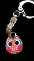pink,blue or red owl cute wide eyed random sent with chainmail keychain,