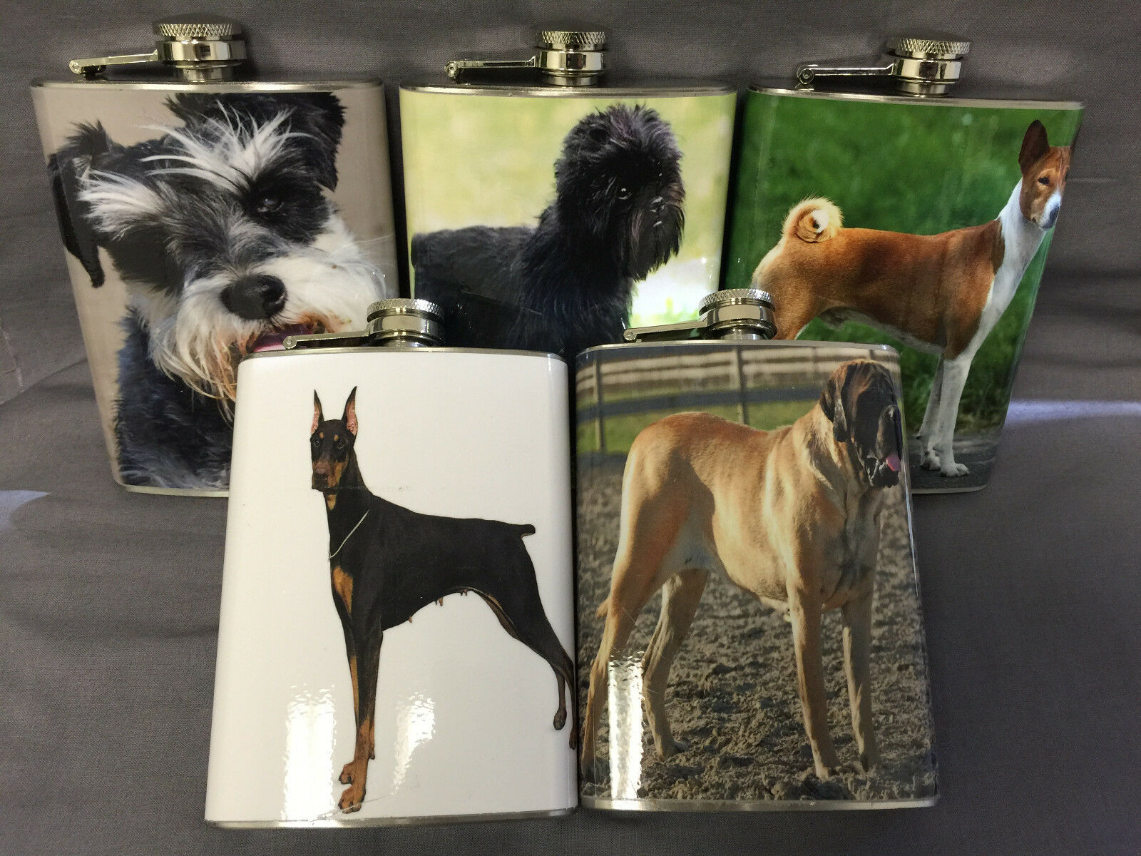 Set of 5 Dogs Set #1 Flasks 8oz Stainless Steel Hip Drinking Whiskey