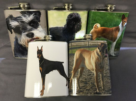 Set of 5 Dogs Set #1 Flasks 8oz Stainless Steel Hip Drinking Whiskey - $31.63