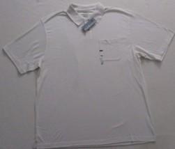 Men Shirt XL Cream Short Sleeve Polo Cotton Rayon Polyester Van Heusen 1... - $17.35