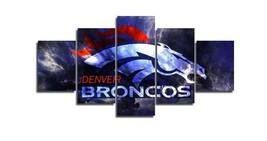 Large Framed Denver Broncos Canvas Print Home Decor Wall Art Five Piece - $128.69