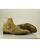 Ankle Monk 3 Strap Boots olive Green Suede Leather Good Quality Buckle C... - $149.99+