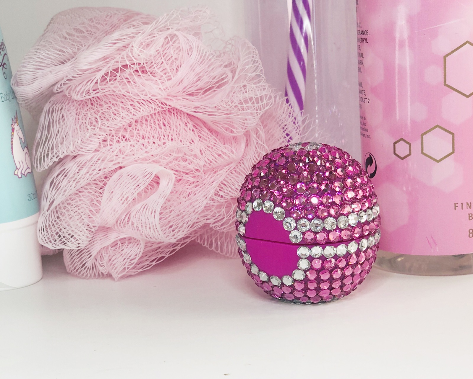 Embellished organic eos lip balm. Wildberry, pink sparkle & bling. Great gift