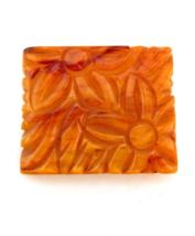 Carved BAKELITE Pin, Marbled Butterscotch Bakelite Square Floral Brooch,... - $59.00