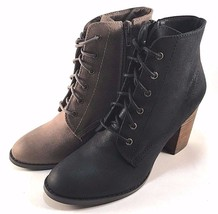 Restricted Time Out Round Toe Thick Heel Lace Up Ankle Booties Choose Sz... - $51.80