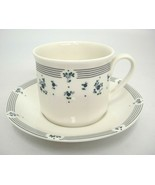 Royal Doulton Calico Blue Cup and Saucer Lines Flowers 1988 Excellent - $14.84