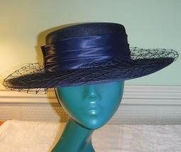 C & A  CLASSICAL NAVY BLUE HAT DEEP SASH NETTING LARGE BOW WEDDINGS RACE... - $23.36