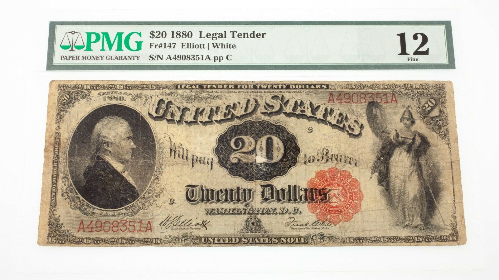 1880 $20 United States Note Fr #147 Graded by PMG as Fine 12