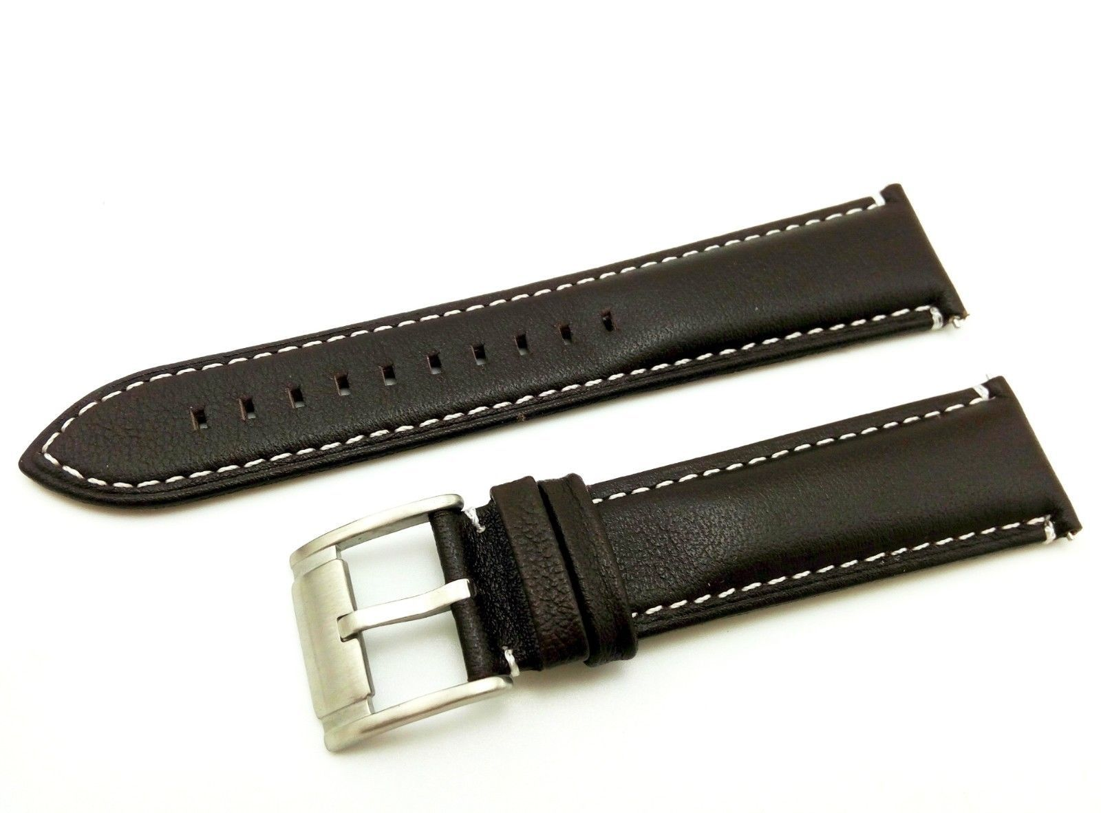 Dark Brown/W. #2 Strap/Band for FOSSIL Watch Genuine Leather Silver/Buckle 22mm - $20.00