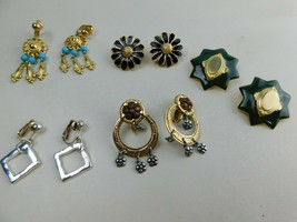 Vintage Lot Of 5 Pairs Of Clip On Earrings Dangle + Others  A5 - $19.59