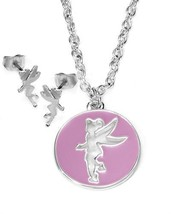 DISNEY COUTURE TINKERBELL PURPLE/SILVER SILHOUETTE NECKLACE/EARRINGS**2 ... - $23.20