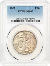 1938 50c PCGS MS67 - Gorgeous Gem - Walking Liberty Half Dollar - Gorgeo... - $1,387.10