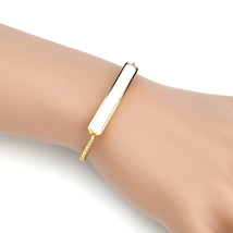 United Elegance Stylish Gold Tone Designer Bolo Bar Bracelet With White Inlay - $19.99
