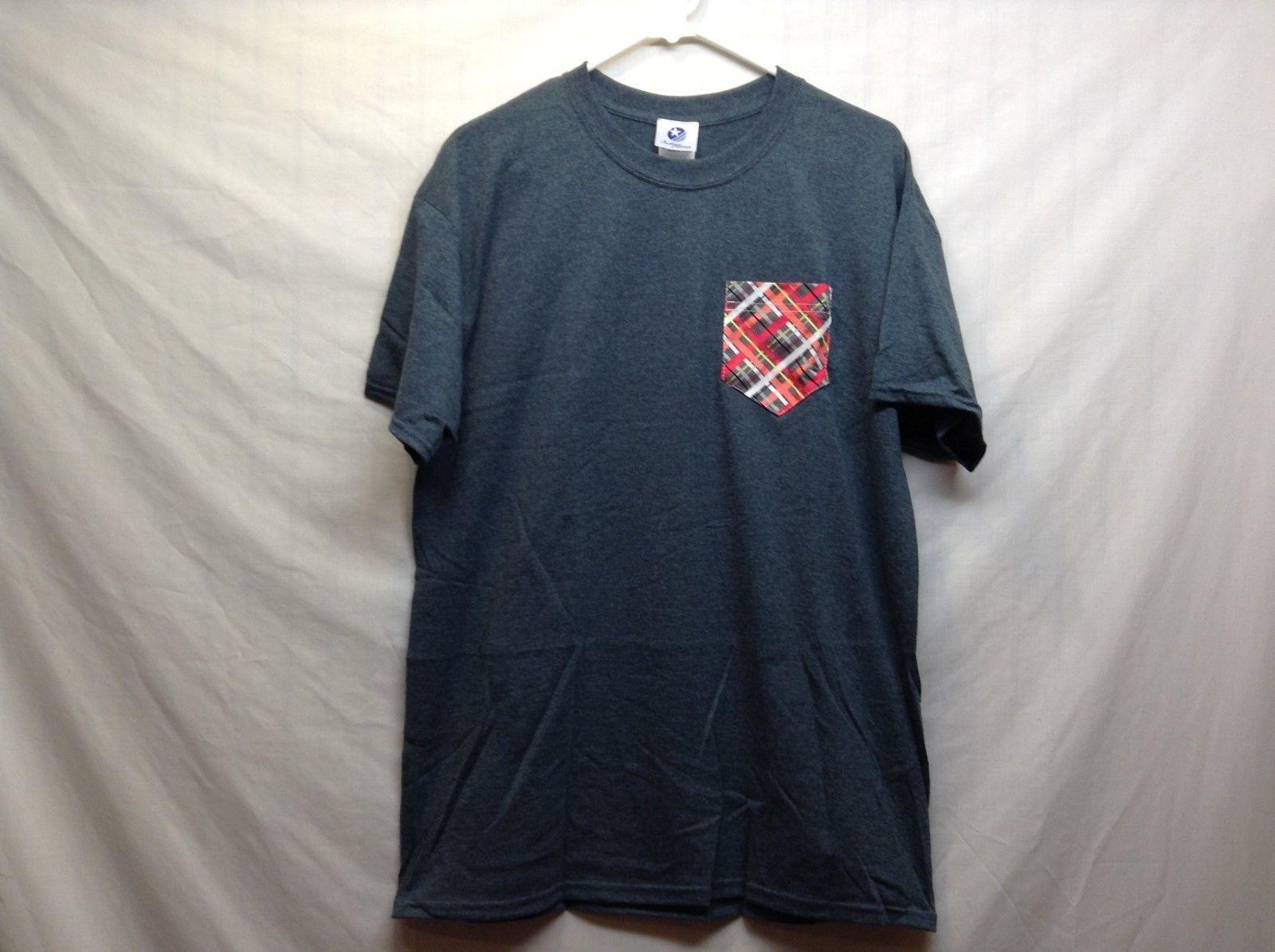 NEW Men's Indigo Cotton Casual Shirt w Plaid Pocket Sz LG