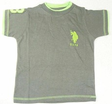 Size 4 Boy's U.S. Polo Assn. Shirt Double Crew Tee T-Shirt Grey with Green Logo