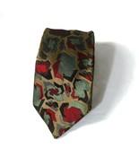 Vintage Neiman Marcus Silk Tie Necktie Gold Green Red Geometric Made in ... - $27.71