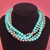 Vintage NAPIER Multi-Strand Choker Necklace Turquoise Blue & Silver Tone - $16.97