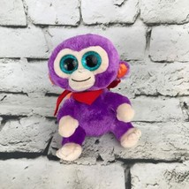 Ty Grapes Monkey Plush Purple Cute Big Eyes Mini Stuffed Animal Soft Toy - $9.89