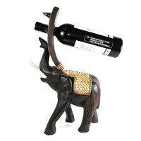 AeraVida Joyous Elephant Carved Rain Tree Woodend Wine Bottle Holder