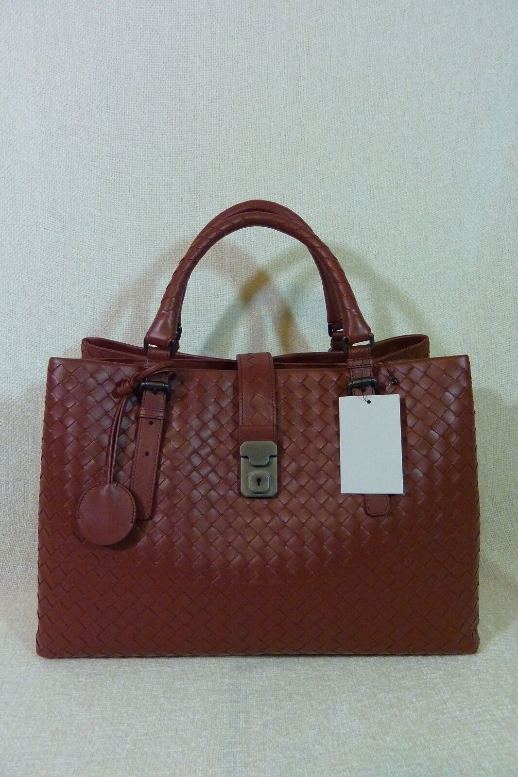 AUTH NWT Bottega Veneta Medium Roma Bag In Russet Intrecciato Calf Leather image 4