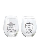 "Home Essentials 2-Piece ""Best Day Ever"" 15 Ounce Stemless Wine Glass Set ~ NIB - $15.00"