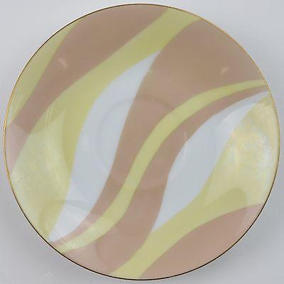Mascot China NA-960 Pattern Flat Cup Saucer Swirl Stripe Pink Yellow Tableware