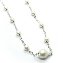 18K WHITE GOLD NECKLACE OVAL BAROQUE CENTRAL PEARL, ROUND PEARLS, RHOMBUS CHAIN image 2