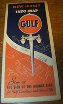 c1940 VINTAGE GULF OIL ADVERTISING INFO ROAD MAP NEW JERSEY - $9.89