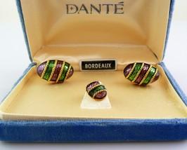 Vintage 1960s DANTE Bordeaux Goldtone & Enamel CUFF LINKS & TIE TAC in O... - $45.58