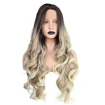 ANOGOL Hair Cap+Blonde Ombre Lace Front Wig with Black Roots Blonde Wigs... - $44.08