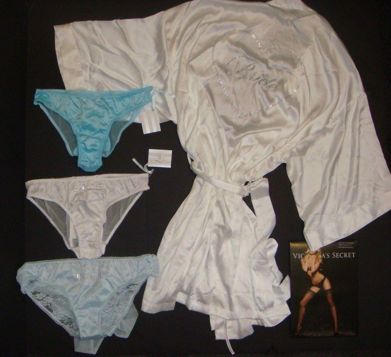8da3085fe7 S l1600. S l1600. Previous. NWT Victoria s Secret ROBE+M panty BRIDAL bow blue  white BRIDE Just Married I DO