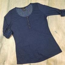 New DEB sz 1X women's navy semi sheer roll tab sleeves blouse (Lo18) - $15.00