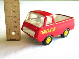 Vintage Mini Tonka Truck Red #18 Pick Up Pressed Steel Toy USA Made Yellow Tires - $14.99