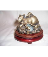 ANTIQUE CHINESE BRONZE RAT WITH COINS & ON COINS GOOD FORTUNE FIGURINE - $145.00