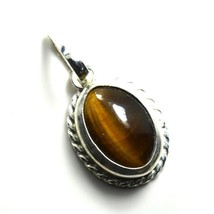 Pretty Tiger's Eye Solid Silver Pendant 3 Carat Brown Charm Necklace Jew... - $23.56