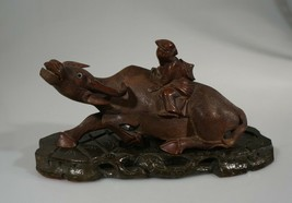 CHINESE BUFFALO OXEN FIGURE WOODEN CARVED ANTIQUE BASE - $188.49