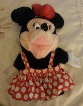 Vintage Applause Disney Minnie Mouse Hand Puppet Plush Red Polka Dot Dre... - $9.90