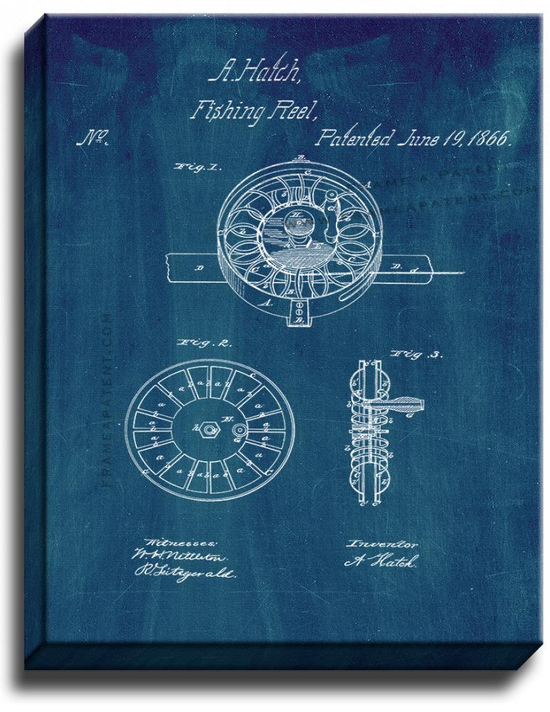 Primary image for Fishing Reel Patent Print Midnight Blue on Canvas