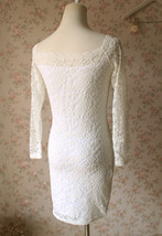 White Lace Dress Long Sleeve Stretchy Lace Sheath Dress Women Lace Party Dresses image 3