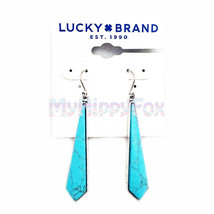 Lucky Brand Antiqued Silver Tone Turquoise Linear Drop Earrings JLD0688 - $17.99