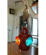 Vintage HANDLAN St. Louis Railroad Switch Lamp Train Lantern Signal 4-wa... - $548.52