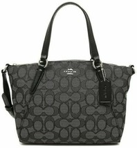 NWT Coach F27580 Signature Mini Kelsey Satchel Shoulder bag Black Smoke ... - $84.15