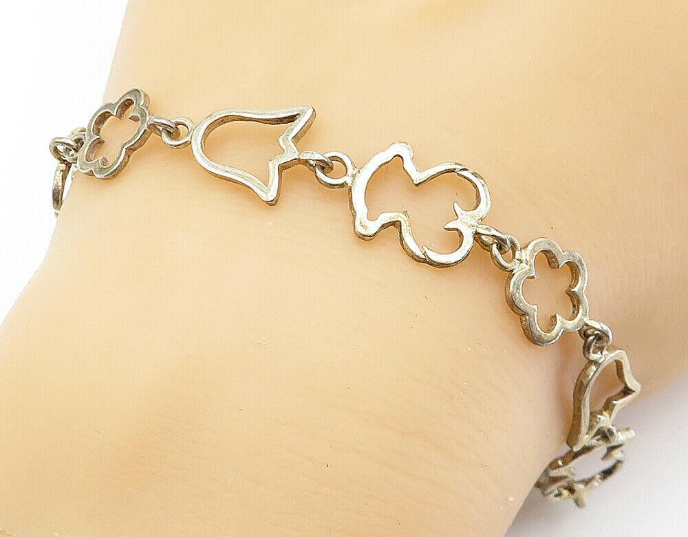 925 Sterling Silver - Vintage Flower Outlined Link Chain Bracelet - B6016