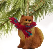 POMERANIAN (RED) DOG CHRISTMAS ORNAMENT HOLIDAY XMAS Figurine Scarf  gift - $9.50