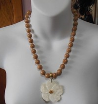 Joan Rivers Brown Bead Necklace W/ White Swirls & Gold Spacer Beads Shel... - $44.55